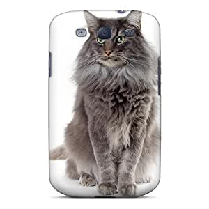 Excellent Galaxy S3 Case PC Cover Back Skin Protector Fluffy Gray Cat