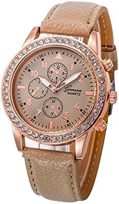 Relojes Pulsera Mujer, Xinan Relojes de Cuarzo de Cuero de Moda Banda Analógica (Caqui)