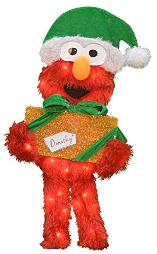 ProductWorks 24-Inch Pre-Lit Sesame Street Elmo with Present Christmas Yard Decoration, 35 Lights