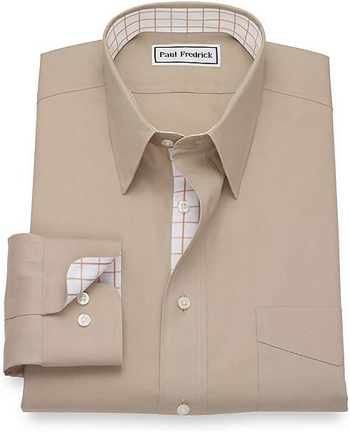 Paul Fredrick Mens Slim Fit Non-Iron Cotton Solid Color Button Cuff Dress Shirt