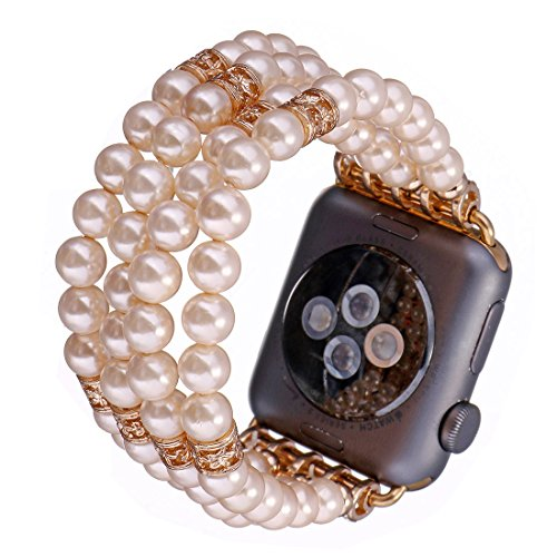 Crystal Series Mother Of Pearl (Tmore for Apple Watch Bands Fashion Resin Pearl Bracelets Unisex Handmade Strap Replace iWatch Band (Beige,38mm))