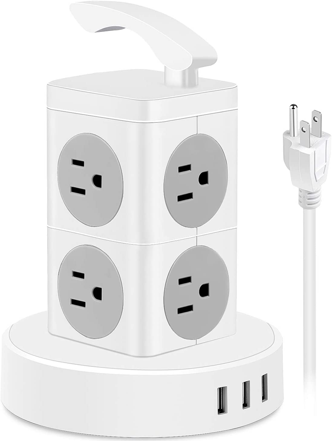 Power Strip Tower Surge Protector, 8 AC Outlets 3 USB Ports Electric Charging Station with 6.6 ft Extension Cord, 1625W 13A Desktop Power Strip with Handle, Circuit Breaker Safeguard for Home Office