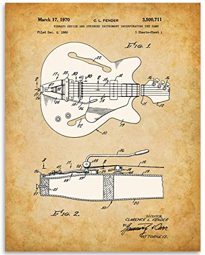 (1966 Fender Guitar Patent - 11x14 Unframed Patent Print - Great Gift Under $15 for Guitar Players)