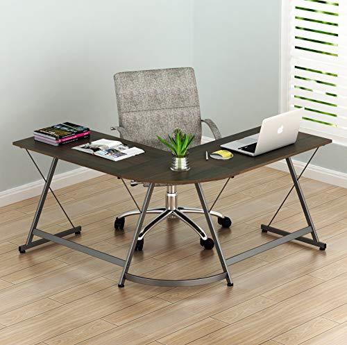 SHW L-Shaped Home Office Corner Desk Wood Top, Walnut (Walnut Wide Chair)