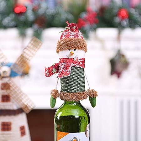 Compra Nuevas decoraciones navideñas Dibujos animados Santa Claus Manos colgantes Juego de champán Tapón de botella de vino Juego de botella de vino de vino, Tapa de botella de muñeco de nieve