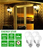 Minger Bug Light Bulb Yellow LED Bulbs, Amber Bug Free Light Bulb Outdoor Porch Lights LED Warm Bulb 40W Equivalent (5W 550Lumens E26/E27), Outdoor Lighting Lamp for Patio Hallway Garage