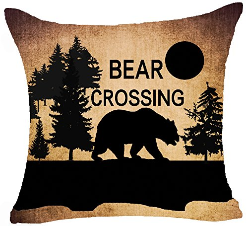Retro Vintage Wild Animals Moose Black Bear Pine Forest Mountain Sun Funny Sayings Bear Crossing Cotton Linen Square Decorative Throw Pillow Case Cushion Cover 18