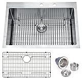 BILLION 33'x22'x10' Inch Drop-in Overmount 16 Gauge Handmade Single Bowl Stainless Steel Kitchen Sink, Round Corners Topmount Sink With Drainer & Bottom Grid