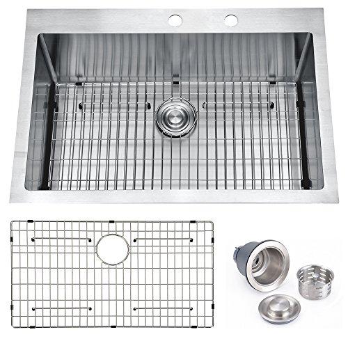 BILLION 33x22x10 Inch Drop-in Overmount 16 Gauge Handmade Single Bowl Stainless Steel Kitchen Sink, Round Corners Topmount Sink With Drainer & Bottom Grid