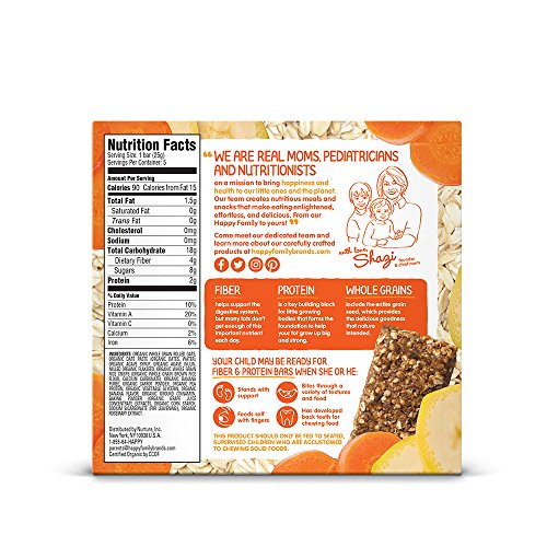 Happy Tot Fiber  Protein SoftBaked Oat Organic Toddler Snack Banana  Carrot 44 Ounce Bars Box of 5
