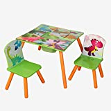 GR8 Home Dinosaur T Rex Childrens Square Table and Two Chairs Set Kids Dino Bedroom Playroom Design Theme Furniture with Central Storage Bag Compartment