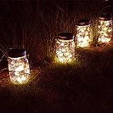 Abkshine 4-Pack Solar Mason Jar Lights Set, Solar
