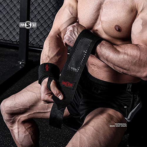 INNSTAR Wrist Wraps for Powerlifting Weightlifting Bench Press Crossfit (Pair)