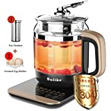 Electric kettle, Suliko 1.5L 800W Heat Resistant Borosilicate Glass Tea Pot with Filter and Egg Cooker, IMD Touch Panel,18 Mode, Reservation Timing and Auto Heat Preservation【1 Year Warranty】