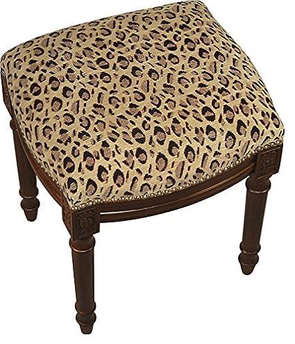 Amazon Com Sketchone Upholstered Vanity Stool Cheetah Kitchen