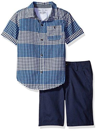 Calvin Klein Baby Boys 2 Pieces Short Set-Woven Shirt
