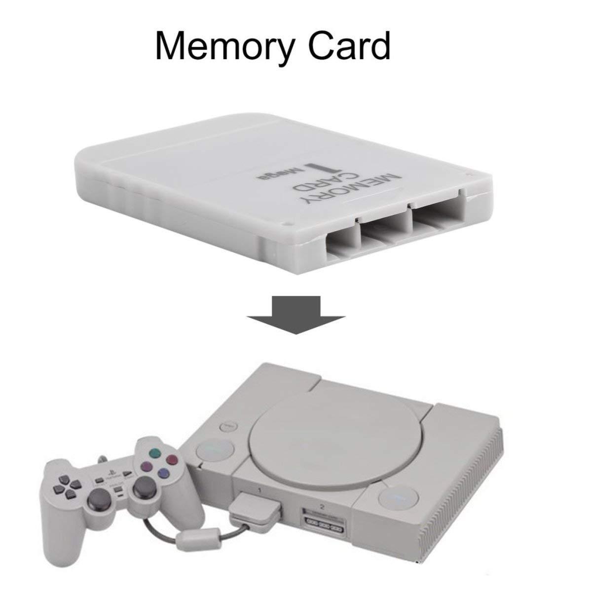 Gugutogo Tarjeta de Memoria PS1 1 Tarjeta de Memoria Mega para Playstation 1 Un Juego PS1 PSX /Útil Pr/áctico Asequible Blanco 1M 1MB