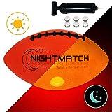 NightMatch Light Up Football - INCL Ball Pump and Spare Batteries - Inside LED Lights up When Kicked - Glow in The Dark Football/Ballon de Futbol Américain - Size 6 - Official Size & Weight