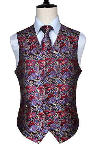 Floral Pattern Necktie - HISDERN Men's Paisley Floral Jacquard Waistcoat & Neck Tie and Pocket Square Vest Suit Set