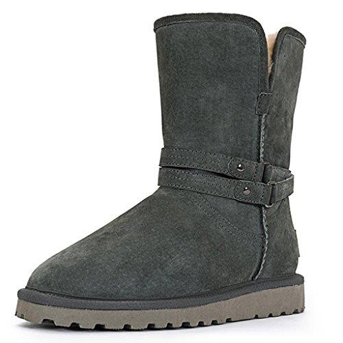 Chaussures en Bottes Hiver Automne au Plus Neige Garder de Femelle Coton Chaud Cachemire Tube et Bottes Long Gray WZ68A
