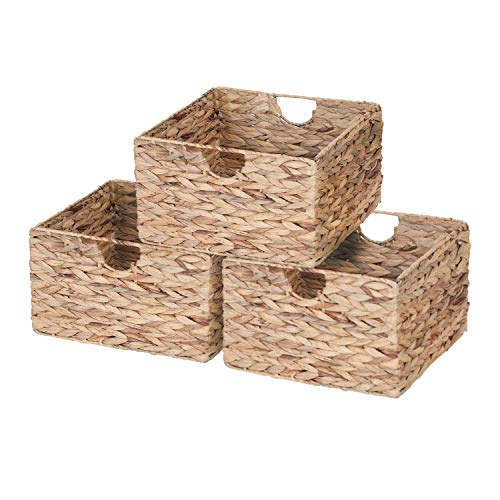 Sophia&William 3-Pack Natural Woven Storage Baskets with Inside Handle, Water Hyacinth Shelf Baskets - 13.2
