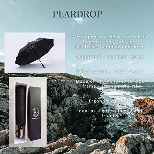 Pear Drop Pop up Automatic Windproof Umbrella Clear Compact Travel Lightweight Umbrella 10 Rib Stormproof Folding Design for Men and Women Black with a Gift Case