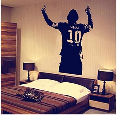 Pvc negro enorme estrella de fútbol Lionel Messi figura etiqueta de la pared de vinilo Diy Kids Living Room etiqueta de la pared calcomanías para los amantes del fútbol