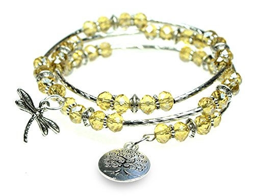 Dragonfly and Tree of Life Charm Sparkling Beaded Triple Wrap Silvertone Bangle (Beaded Dragonfly)