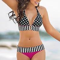 Biquíni feminino Weite com estampa de bolinhas, gola listrada, sutiã frente única, biquíni acolchoado push-up, trajes de banho para praia