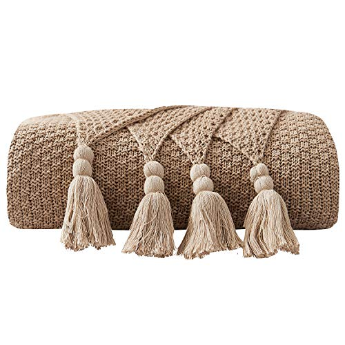DOMIKING 100% Cotton Knitted Throws and Blankets for Sofa Couch Bed Multiple Used Special Tassels Blanket Lightweight Khaki Throw Four-Season Use,51