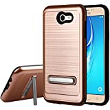 Galaxy J7 (2017) Case, Mybat Carbon Fiber Accent Dual Layer Protection Hybrid Stand Brushed PC/TPU Rubber Case Cover For Samsung Galaxy Halo/J7 (2017)/J7 Perx/J7 Prime/J7 Sky Pro/J7 V, Rose Gold/Black