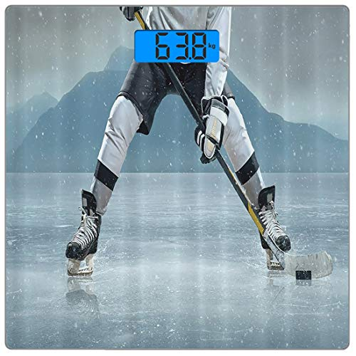 (Precision Digital Body Weight Scale Husband Gifts from Wife Ice Hockey Player on Ice Skating Athletic Activity Frozen Outdoors Equipment Snow Game Winter Team Helmet Rink Man Sports Gray Denim Blue Bl)
