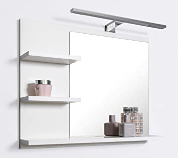 Häufig DOMTECH Badspiegel mit Ablagen Weiß mit LED Beleuchtung Badezimmer QK23