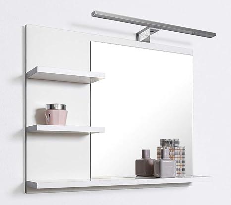 DOMTECH, Specchio da bagno con mensola, bianco, con illuminazione a ...