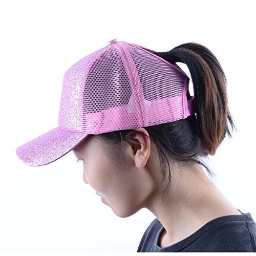MYZOPER Ponytail Messy Buns Trucker Ponycaps - Adjustable Baseball Cap Visor Dad Hat for Womens ... (Sequin Pink)