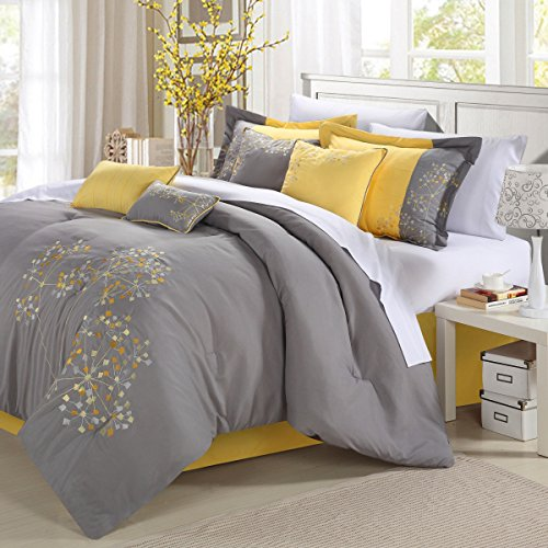 Gold Turquoise Coral - Chic Home Floral 12-Piece Embroidered Comforter Set Complete Embroidery Pattern Bed in a Bag with Sheet Set Bed Skirt and Decorative Pillows Shams, Queen Yellow Grey