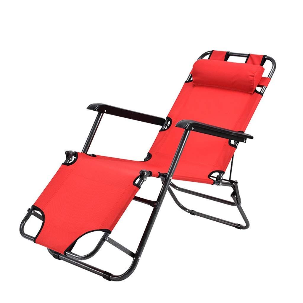 屋外折りたたみリクライニングチェアチェアデッキチェアバックレストアームチェアポータブルトラベル折りたたみチェアキャンプチェア妊娠中の女性用チェアサンラウンジャーガーデンチェア (Color : Red) B07SNW4P82 Red