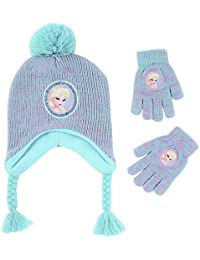 Girls' Little Frozen Elsa Hat and Gloves Cold Weather...