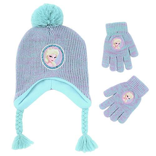 Disney Girls' Little Frozen Elsa Hat and Gloves Cold Weather Set, Purple/Blue, Age - Hat Elsa