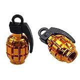 zeshlla Válvula de aleación 2PCS Grenade Caps polvo Cubiertas para bicicleta de MTB BMX coche, Amarillo