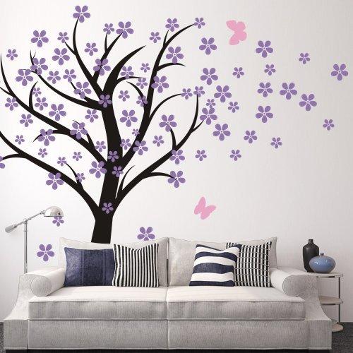 Cherry Blossom Wall Decal Kids Wall Art Baby Nursery Wall Decal- Trailing Cherry Blossom Tree With Butterflies 2(tree trunk:Black;flowers:Hydrangea Purple;butterflies:Soft (Baby Forever Blossoms)
