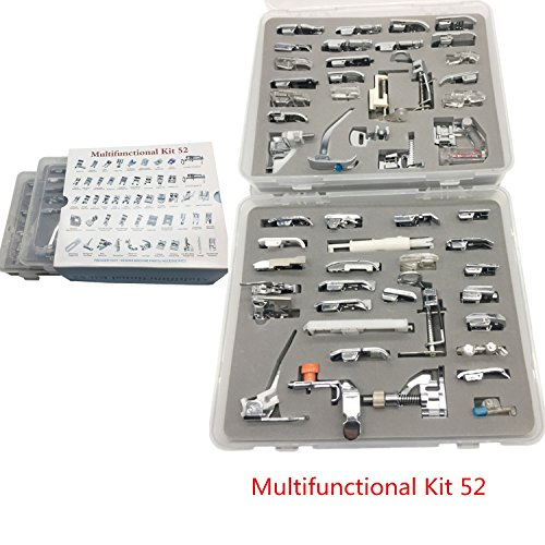 YEQIN 52 PCS Domestic Sewing Foot Presser Feet Set for Singer, Brother, Janome,Kenmore, Babylock,Toyota,New Home, And Low Shank Sewing Machines (Parts Sewing Machine Viking)