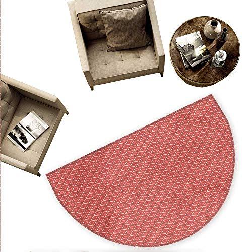 Geometric Semicircular Cushion Horizontal Diamond Line Pattern Design with Chevron Lines Tile Print Entry Door Mat H 63