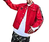 Comfy-Men Hip-Hop Personalized Jean Jacket Club Letter Printed Coat Red L