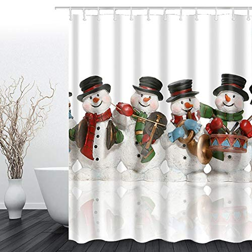 Didihou Snowman Christmas Shower Curtain Polyester Fabric Shower