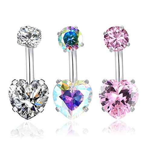 14G Surgical Steel Belly Button Rings Heart Cubic Zirconia Navel Barbell Stud Body Piercing for Women Girls … (3 Pcs(Clear+AB - Jeweled Bag Heart