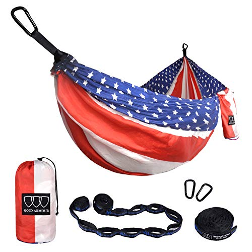 Gold Armour Camping Hammock - XL Double Parachute Hammock (2 Tree Straps 16 LOOPS/10 FT Included) USA Brand Lightweight Nylon Portable Mens Womens Kids, Best Camping Accessories Gear (Flag)