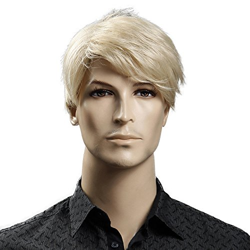 HAIRSW Synthetic 6inch Short Blonde Wig Natural Hair Men Straight HairStyles Heat Resistant Fiber