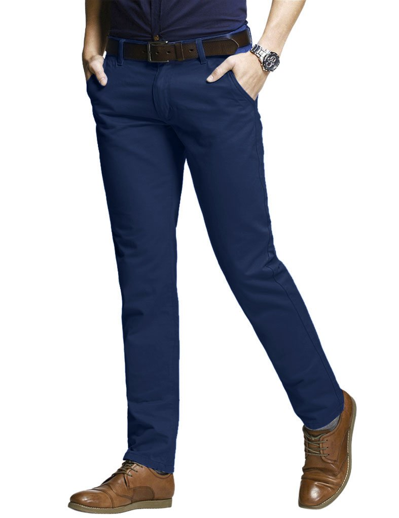 Match Men's Slim Fit Tapered Stretchy Casual Pants (29W x 31L, 8050 Blue#2)