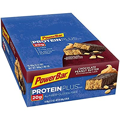 PowerBar Protein Plus Bars, Chocolate Peanut Butter, 20g Protein, 2.12-Ounce Bars (Pack of 15) by PowerBar